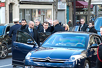 November 13 2017, PARIS FRANCE<br /> the President of France Emmanuel Macron<br /> honors the victims of the 13 november 2015<br /> in the scenes of attacks. the President<br /> leaves the Town Hall. # HOMMAGE AUX VICTIMES DES ATTENTATS DU 13 NOVEMBRE 2015