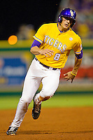 Mikie Mahtook #8 of the LSU Tigers hustles towards third base against the Wake Forest Demon Deacons at Alex Box Stadium on February 18, 2011 in Baton Rouge, Louisiana.  The Tigers defeated the Demon Deacons 15-4.  Photo by Brian Westerholt / Four Seam Images