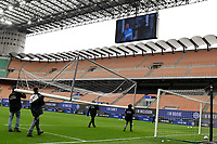 Some workers move a soccer goal prior to the Serie A football match between FC Internazionale and Cagliari Calcio at San Siro stadium in Milano (Italy), April 11th, 2021. Photo Andrea Staccioli / Insidefoto