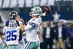 Dallas Cowboys quarterback Tony Romo (9) in action during the pre-season game between the Baltimore Ravens and the Dallas Cowboys at the AT & T stadium in Arlington, Texas. Baltimore defeats Dallas  37-30.
