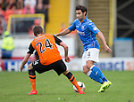 Dundee United v St Johnstone...27.09.14  SPFL<br /> Simon Lappin takes on Blair Spittal<br /> Picture by Graeme Hart.<br /> Copyright Perthshire Picture Agency<br /> Tel: 01738 623350  Mobile: 07990 594431