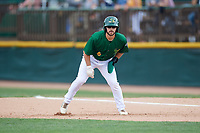 Beloit Snappers pinch runner Ryan Gridley (6) leads off first base during a game against the Dayton Dragons on July 22, 2018 at Pohlman Field in Beloit, Wisconsin.  Dayton defeated Beloit 2-1.  (Mike Janes/Four Seam Images)