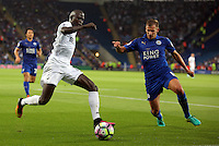 Pictured: Modou Barrow of Swansea City Saturday 27 August 2016<br /> Re: Swansea City FC v Leicester City FC Premier League game at the King Power Stadium, Leicester, England, UK