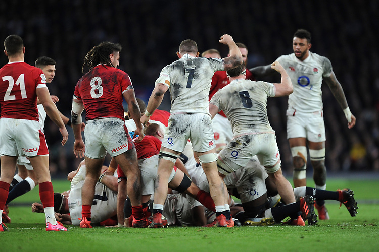 Mark Wilson (7) and Tom Curry (8) of England reacts as England win a penalty for turning a maul during the Guinness Six Nations match between England and Wales at Twickenham Stadium on Saturday 7th March 2020 (Photo by Rob Munro/Stewart Communications)