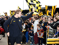 Photo: Richard Lane/Richard Lane Photography. Wasps v Exeter Chiefs.  European Rugby Champions Cup Quarter Final. 09/04/2016. Wasps' Joe Launchbury arrives at the Ricoh Arena.