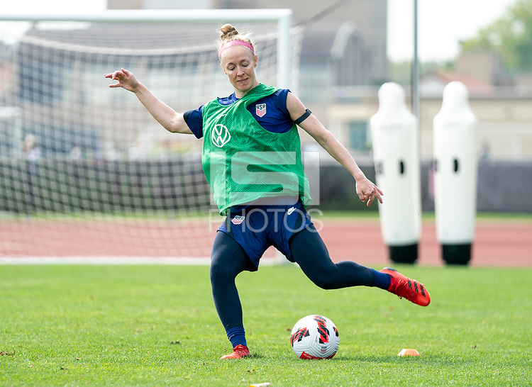 CLEVELAND, OH - SEPTEMBER 14: Becky Sauerbrunn of the United States takes a shot during a training session at the training fields on September 14, 2021 in Cleveland, Ohio.