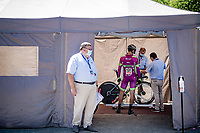 Mirco Maestri (ITA/Bardiani-CSF-Faizanè) getting his bike checked by the UCI before the race<br /> <br /> 91st Baloise Belgium Tour 2021 (BEL/2.Pro)<br /> Stage 2 (ITT) from Knokke-Heist to Knokke-Heist (11.2km)<br /> <br /> ©kramon