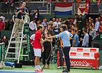 Switserland, Genève, September 18, 2015, Tennis,   Davis Cup, Switserland-Netherlands, Roger Federer is interviewed by Jan-Willem de Lange of Sport 1 TV<br /> Photo: Tennisimages/Henk Koster