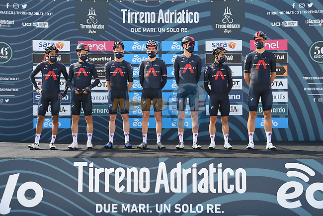 Ineos Grenadiers at sign on before the start of Stage 1 of Tirreno-Adriatico Eolo 2021, running 156km from Lido di Camaiore to Lido di Camaiore, Italy. 10th March 2021. <br /> Photo: LaPresse/Gian Mattia D'Alberto | Cyclefile<br /> <br /> All photos usage must carry mandatory copyright credit (© Cyclefile | LaPresse/Gian Mattia D'Alberto)