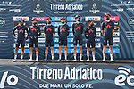 Ineos Grenadiers at sign on before the start of Stage 1 of Tirreno-Adriatico Eolo 2021, running 156km from Lido di Camaiore to Lido di Camaiore, Italy. 10th March 2021. <br /> Photo: LaPresse/Gian Mattia D'Alberto   Cyclefile<br /> <br /> All photos usage must carry mandatory copyright credit (© Cyclefile   LaPresse/Gian Mattia D'Alberto)