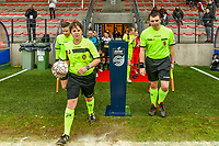 assistant referee Geoffrey Quaranta , referee Sylvie Deckers , assistant referee Romain Delree pictured before a female soccer game between Standard Femina de Liege and Eendracht Aalst on the 12 th matchday of the 2020 - 2021 season of Belgian Scooore Womens Super League , saturday 30 th of January 2021 in Angleur , Belgium . PHOTO SPORTPIX.BE   SPP   STIJN AUDOOREN