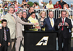 21 August 2010: The connections of ECLAIR DE LUNE, Beverly Duchossois, Richard Duchossois, Ronald McAnally, and Jockey Junior Alvarado in the winner's circle after winning the 21st running of the G1 Beverly D at Arlington Park in Arlington Heights, Illinois.