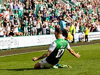28th August 2021;  Easter Road , Leith, Edinburg, Scotland; Scottish Premier League football, Hibernian versus Livingston; Martin Boyle of Hibernian celebrates after scoring Hibs second goal for 2-0 in the 89th minute