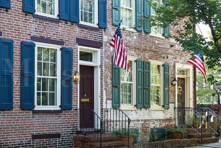 Quaint colonial house on historic Woods Street, Burlington, New Jersey, USA