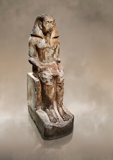 Ancient Egyptian statue of Wahka son of Neferhoptep, Middle Kingdom, 13th Dynasty, (1760 BC), Qaw el-Kebir, Tomb 7. Egyptian Museum, Turin.<br /> <br /> This exceptional example of a private sculpture depicts a provincial official in almost Royal size and attitude. It was found inside the largest funerary chapel in Qaw el-Kebir, built of governor Wahka II around 1850 BC, The style indicates a date about a century later at a time when local governors did not build large tombs anymore. The statue was therefore installed by another Wahka into his ancestors chapel to keep the memory of his glorious lineage alive. Schiapelli excavations Cat 4265.
