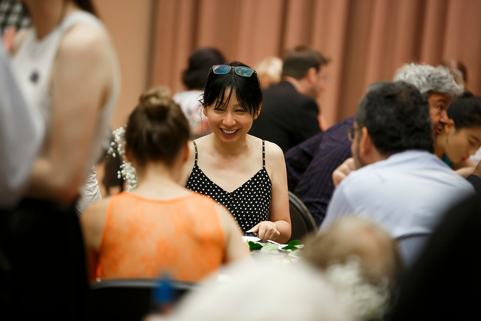 A guest mingles during the opening reception and dinner of the 11th USA International Harp Competition at Indiana University in Bloomington, Indiana on Wednesday, July 3, 2019. (Photo by James Brosher)