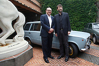 Carlo Verdone e Dario Franceschini posano davanti alla 128 familiare del film Le vacanze intelligenti<br /> Roma 15-06-2015 Aperta per la prima volta la villa di Alberto Sordi, che diventerà' un museo aperto a chiunque voglia visitarla.<br /> Opened for the firs time Alberto Sordi's villa, that will become a museum.<br /> Photo Samantha Zucchi Insidefoto