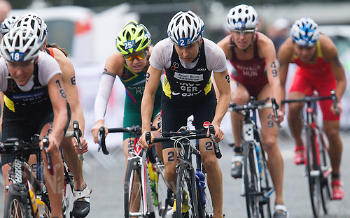 14 SEP 2013 - LONDON, GBR - Anne Haug (GER) (centre) of Germany attempts to catch the lead pack during the bike at the elite women's ITU 2013 World Triathlon Series Grand Final in Hyde Park, London, Great Britain (PHOTO COPYRIGHT © 2013 NIGEL FARROW, ALL RIGHTS RESERVED)