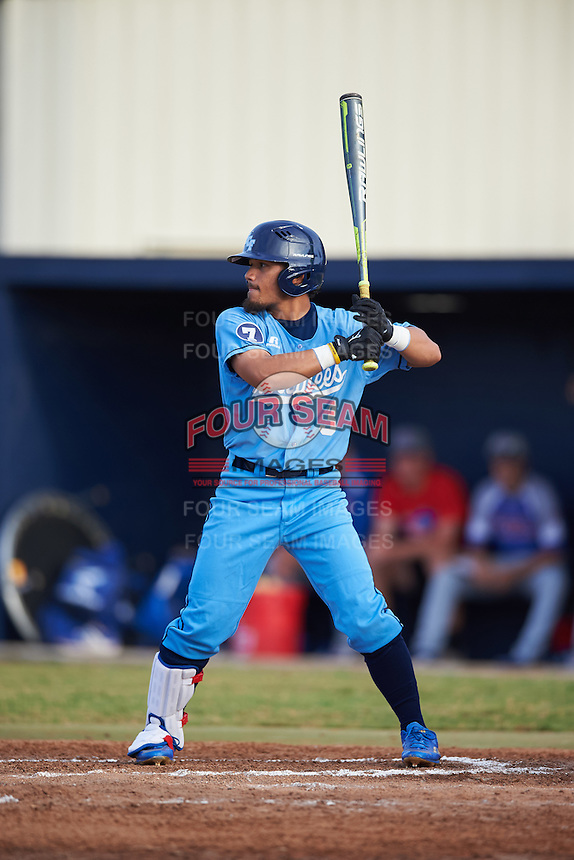 SCF Manatees Rougie Odor (3) at bat during a game against the College of Central Florida Patriots on February 8, 2017 at Robert C. Wynn Field in Bradenton, Florida.  SCF defeated Central Florida 6-5 in eleven innings.  (Mike Janes/Four Seam Images)