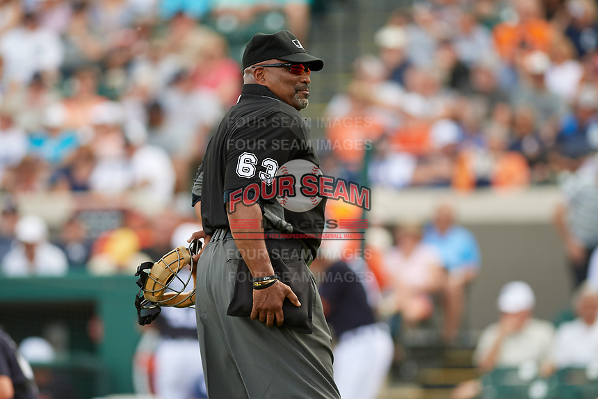 Home plate umpire Laz Diaz during a Grapefruit League Spring Training game between the New York Yankees and the Detroit Tigers on February 27, 2019 at Publix Field at Joker Marchant Stadium in Lakeland, Florida.  Yankees defeated the Tigers 10-4 as the game was called after the sixth inning due to rain.  (Mike Janes/Four Seam Images)