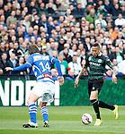 Nederland, Rotterdam, 3 mei 2015<br /> KNVB Bekerfinale<br /> Seizoen 2014-2015<br /> PEC Zwolle-FC Groningen<br /> Tjaronn Chery (r.) van FC Groningen in in actie met bal. Links Joost Broerse van PEC Zwolle.