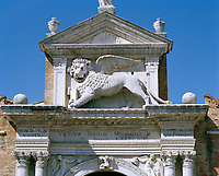 The Porta Magna of the Venetian Arsenal. Capped by the lion of St Mark, the Arsenale's land gate is considered by many to be the earliest example of Renaissance architecture in Venice; it was probably executed in 1460.