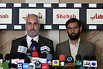Palestinian Parliament member in Gaza Strip , Mushir Al-Masri (R) and the spokesman of Hamas, Fawzy Barhoum (L) attend a press conference against political arrests by the security forces in the West Bank, Gaza City on January 2, 2011. Photo by Mohammed Asad