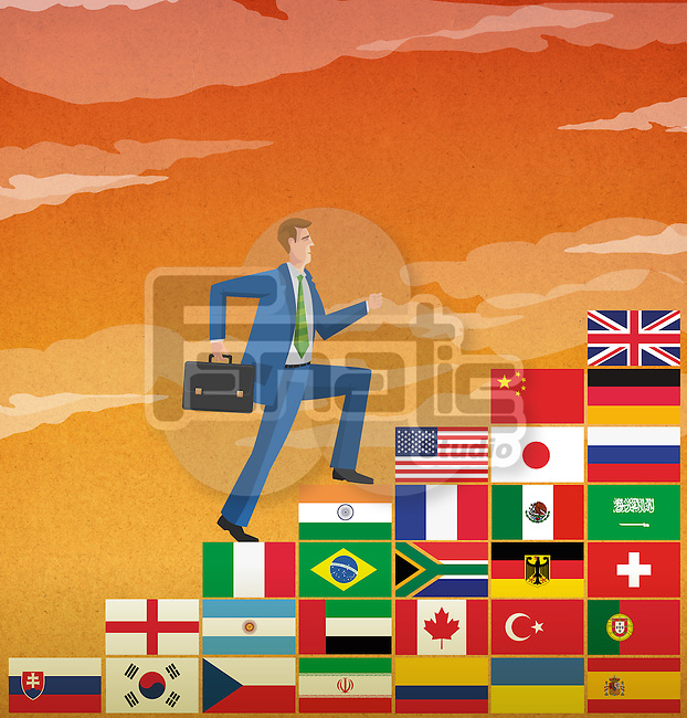 Businessman climbing stairs of different country flags