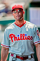 23 August 2018: Philadelphia Phillies Manager Gabe Kapler stands in the dugout prior to a game against the Washington Nationals at Nationals Park in Washington, DC. The Phillies shut out the Nationals 2-0 to take the 3rd game of their 3-game mid-week divisional series. Mandatory Credit: Ed Wolfstein Photo *** RAW (NEF) Image File Available ***