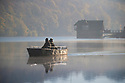 09/11/17<br /> <br /> Surrounded by autumn colour and early morning mist, two fishermen in a boat drift past a house known as the  Lady of the Lake on Rudyard Lake near Leek, Staffordshire.<br /> <br />  <br /> All Rights Reserved F Stop Press Ltd. +44 (0)1335 344240 +44 (0)7765 242650  www.fstoppress.com