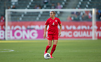 CARSON, CA - FEBRUARY 07: Shelina Zadorsky #4 of Canada turns with the ball during a game between Canada and Costa Rica at Dignity Health Sports Park on February 07, 2020 in Carson, California.