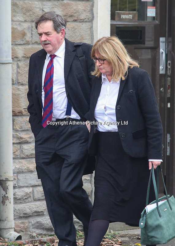 COPY BY TOM BEDFORD<br /> Pictured: Anne Carhart (R), Headteacher of Maesteg Comprehensive School leaves Aberdare Coroner's Court, Wales, UK. Monday 13 February 2017<br /> Re: Inquest into the death of teenager Ashley Daniel Talbot held at Aberdare Coroner's Court.<br /> Ashley, 15, died at the scene and another boy, 13, suffered minor injuries in December 2014, following a crash involving a school minibus en route to a rugby match,at Maesteg Comprehensive School in south Wales.