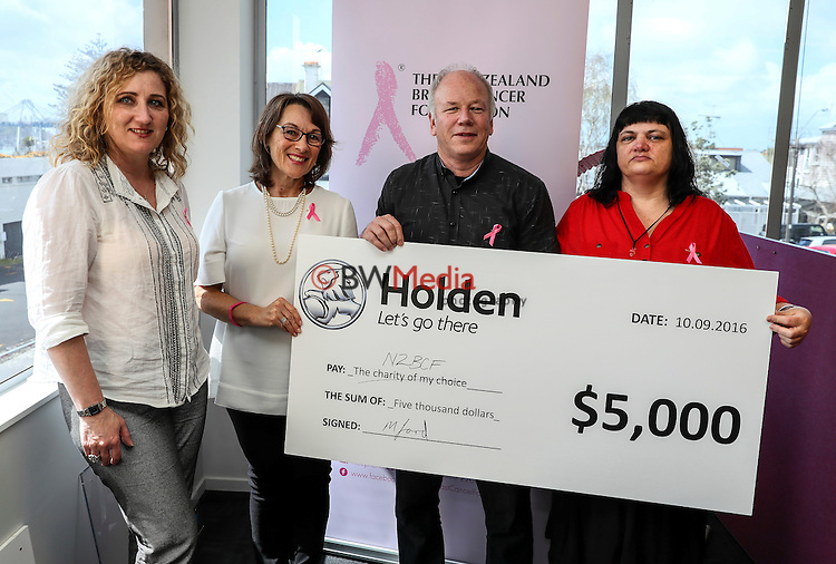 L_R: Marnie Jane Samphier (Holden NZ General Marketing Manager), NZBCF CEO Van Henderson with Mike Ford and Dianne Shappell of Colorado Place. Mike Ford and Dianne Shappell presented a $5000 donation to the NZBCF. Holden New Zealand Colorado Place prize presentations, Auckland, New Zealand, Wednesday 5 October 2016. Photo: Simon Watts/www.bwmedia.co.nz