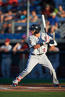 Mahoning Valley Scrappers shortstop Alexis Pantoja (12) at bat during a game against the Auburn Doubledays on July 19, 2016 at Falcon Park in Auburn, New York.  Mahoning Valley defeated Auburn 9-1.  (Mike Janes/Four Seam Images)