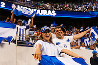 Honduras fans celebrate a goal. Honduras defeated Haiti 2-0 during a CONCACAF Gold Cup group B match at Red Bull Arena in Harrison, NJ, on July 8, 2013.
