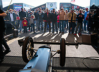 Apr 14, 2019; Baytown, TX, USA; Fans watch as NHRA top fuel driver Mike Salinas (not pictured) warms up his dragster in the pits during the Springnationals at Houston Raceway Park. Mandatory Credit: Mark J. Rebilas-USA TODAY Sports