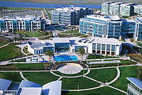 aerial photograph of the Pacific Shores Center a high-tech business park in Silicon Valley, Redwood City, California at edge of San Francisco bay