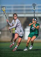30 March 2016: University of Vermont Catamount Attacker Elena McWright, a Sophomore from Baldwin, MD, in second half action against the Manhattan College Jaspers at Virtue Field in Burlington, Vermont. The Lady Cats defeated the Jaspers 11-5 in non-conference play. Mandatory Credit: Ed Wolfstein Photo *** RAW (NEF) Image File Available ***
