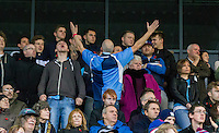 Supporters during the FA Cup 1st Round match between FC Halifax Town and Wycombe Wanderers at The Shay Stadium, Shaw Hill, Halifax, West Yorkshire, England on 8 November 2015. Photo by Andy Rowland.