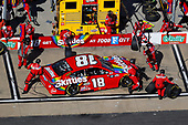 BRISTOL, TENNESSEE - MAY 31: Kyle Busch, driver of the #18 Skittles Toyota, pits during the NASCAR Cup Series Food City presents the Supermarket Heroes 500 at Bristol Motor Speedway on May 31, 2020 in Bristol, Tennessee. (Photo by Kevin C. Cox/Getty Images)