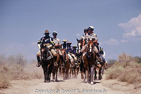 MEMBERS of the 9th MEMORIAL CAVALRY on SYMBOLIC RE-ENACTMENT RIDE FROM PHOENIX, AZ to NEW ORLEANS, LA