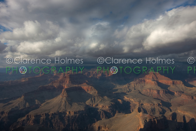 Approaching winter storm over the Grand Canyon in late afternoon light from Hopi Point