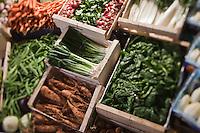 Europe/France/Nord-Pas-de-Calais/Pas-de-Calais/62/Le Touquet: Au cours des Halles - Etal de légumes //  France, Pas de Calais, Le Touquet, Over the Halles Vegetable Stall