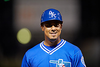 Oklahoma City Dodgers coach Luis Matos (32) during a game against the Colorado Springs Sky Sox on June 2, 2017 at Chickasaw Bricktown Ballpark in Oklahoma City, Oklahoma.  Colorado Springs defeated Oklahoma City 1-0 in ten innings.  (Mike Janes/Four Seam Images)