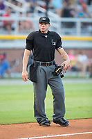 Home plate umpire Steven Hodgins during the Appalachian League game between the Danville Braves and the Burlington Royals at Burlington Athletic Stadium on August 12, 2017 in Burlington, North Carolina.  The Braves defeated the Royals 5-3.  (Brian Westerholt/Four Seam Images)