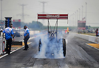 Jul, 10, 2011; Joliet, IL, USA: NHRA top fuel dragster driver T.J. Zizzo during the Route 66 Nationals at Route 66 Raceway. Mandatory Credit: Mark J. Rebilas-