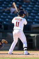 Surprise Saguaros infielder Tony Wolters (11), of the Cleveland Indians organization, during an Arizona Fall League game against the Salt River Rafters on October 14, 2013 at Surprise Stadium in Surprise, Arizona.  Salt River defeated Surprise 3-2.  (Mike Janes/Four Seam Images)