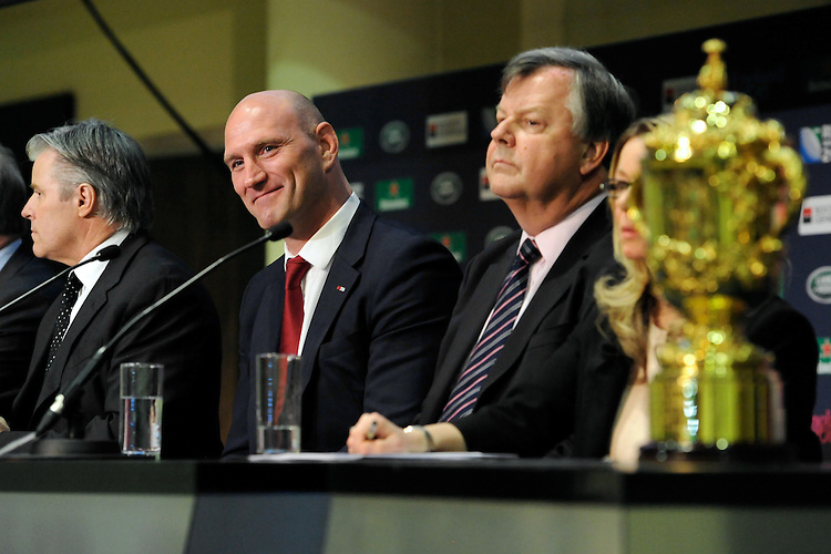 Lawrence Dallaglio looks on in front of the Webb Ellis Trophy during the Rugby World Cup 2015 Venues and Match Schedule Launch at Twickenham Stadium on Thursday 2nd May 2013 (Photo by Rob Munro)