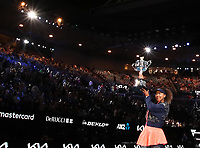 210220 -- MELBOURNE, Feb. 20, 2021 -- Osaka Naomi of Japan celebrates with her trophy during the awarding ceremony after women s singles final between Osaka Naomi of Japan and Jennifer Brady of the United States at Australian Open in Melbourne, Australia, Feb. 20, 2021.  SPAUSTRALIA-MELBOURNE-TENNIS-AUSTRALIAN OPEN-DAY 13 BaixXuefei <br /> Photo Xinhua/Imago/Insidefoto ITALY ONLY