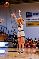 19 February 2020: University of Vermont Catamount Forward Delaney Richason, a Freshman from Zionsville, IN, shoots for three in second-half action against the Stony Brook Seawolves at Patrick Gymnasium in Burlington, Vermont. The Lady Seawolves edged out the Lady Catamounts 72-68 in America East Women's Basketball. Mandatory Credit: Ed Wolfstein Photo *** RAW (NEF) Image File Available ***